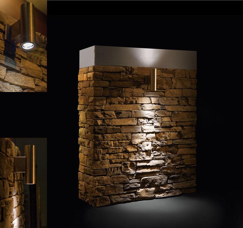 Ottagono e Striker  Faretti per muri in pietra ricostruita